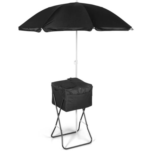The Paradiso 72-Can Cooler is a black cooler bag, stand and umbrella ( sold separately )