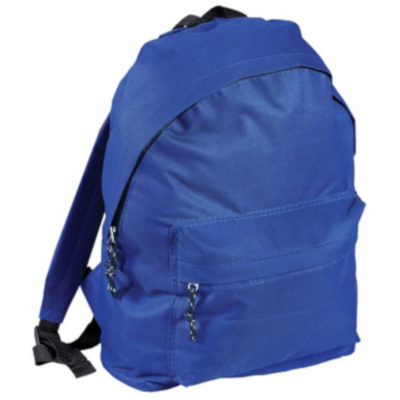 The Student Backpack is a 600D blue backpack with two zip compartments, adjustable shoulder straps and black zip and strap detail