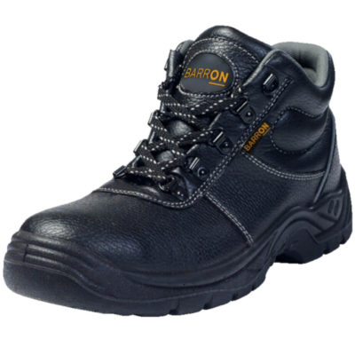 The Barron Defender Safety Boot , Approved Safety Boot, Anti-Static Easily Removable Inner Sole, Oil Resistant, Slip Resistant, Shock Resistant, Steel Toecap With Impact Protection Of 200 Joules, Heat Resistant Up To 90 Degrees Celsius, Genuine Leather Upper And Dual Density PU Sole. Colour: Black.