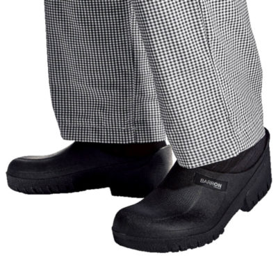 The Barron Loafer Clog, Slip On Unisex Design, Ideal For Hospitality & Medical Field, Shock Absorbent Insole, Slip Resistant On Dry Surfaces, Water Resistant, Removable Inner Sole, Thicker Inner Sole For Added Comfort, Upper And Outer Sole PVC, Insole PU With Polyester Mesh. Colour: Black. Model.