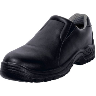 The Barron Occupational Shoe, Lightweight, Single Density PU sole, Water Resistant, Anti-Static, Anti-Slip, Anti-Bacterial Insole, Oil Resistant, Unisex, Adjustable Elasticated Side Panel, Microfiber Upper And Higher Heel. Colour: Black. Front View.