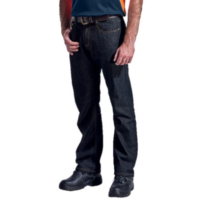 The Barron Work Wear Jean, Made From (Cotton, Polyester Rayon & Acrylic), Straight Leg Style, Front And Back Pockets With Rivets, Coin Pocket, Metallic Zip With Stud Button, Comtrast Stitching Detail. Model.