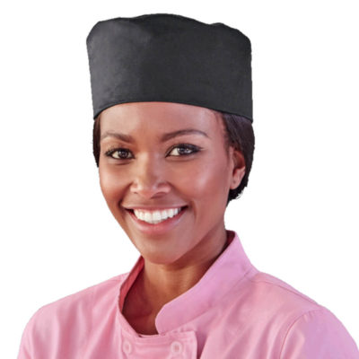 The Chef Beanie Is Made From Poly Cotton Fabric, Has An Adjustable Velcro Tab. Colour: Black. Model.