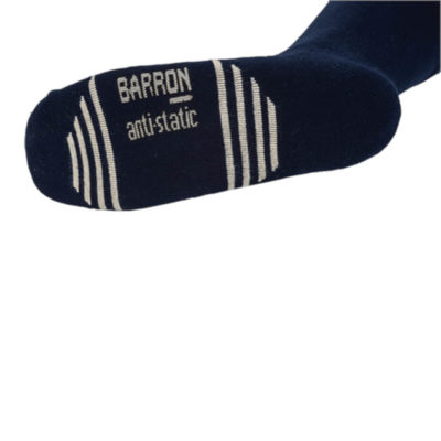 The Commander Sock, Double Cushion Comfort, Anti-Static Silver Coated Cotton Stripes, Treated With Odorguard - Antibacterial. Colour: Navy. Model.