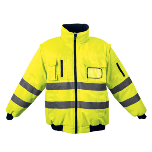 The Barricade Jacket, 100% Coated Oxford Polyester, Removable Sleeves, Inner Zip For Embroidery Access, ID Pocket, Welt Side Pockets, Chest Pockets, Sleeve Pockets, Ribbed Hem And Cuffs, Reinforced Seams, Bar Tacking Finish On All Pressure Points For A High Quality Workwear Garment, Water Resistant Coating, Contrast 220g Micro Fleece Lining. Colour: Safety Yellow.
