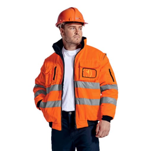 The Barricade Jacket, 100% Coated Oxford Polyester, Removable Sleeves, Inner Zip For Embroidery Access, ID Pocket, Welt Side Pockets, Chest Pockets, Sleeve Pockets, Ribbed Hem And Cuffs, Reinforced Seams, Bar Tacking Finish On All Pressure Points For A High Quality Workwear Garment, Water Resistant Coating, Contrast 220g Micro Fleece Lining. Colour: Safety Orange. Model.