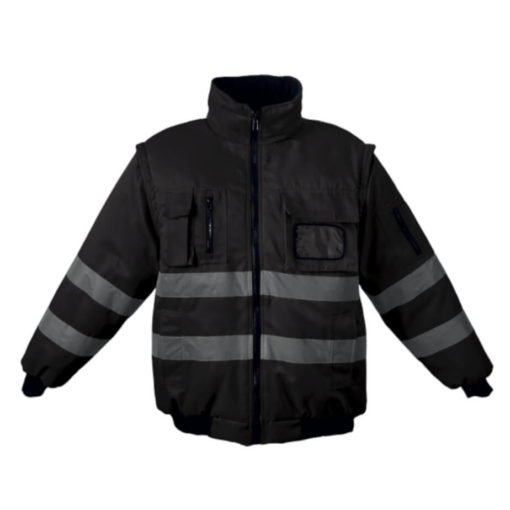 The Barricade Jacket, 100% Coated Oxford Polyester, Removable Sleeves, Inner Zip For Embroidery Access, ID Pocket, Welt Side Pockets, Chest Pockets, Sleeve Pockets, Ribbed Hem And Cuffs, Reinforced Seams, Bar Tacking Finish On All Pressure Points For A High Quality Workwear Garment, Water Resistant Coating, Contrast 220g Micro Fleece Lining. Colour: Black.