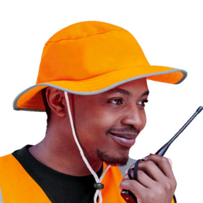 The Contract Safety Sun Hat, 100% Polyester, Reflective Binding On Edge, Inner Sweatband, Cord And Stopper. Colour: Safety Orange. Model.