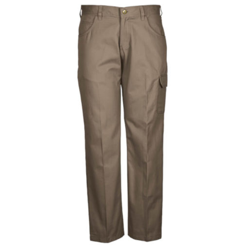 The Brixton Pants, Poly Cotton Twill Fabric, Constructed Waistband With Belt Loops, Back Patch Pockets, Back Yoke, Front Fly With Metal Zip And Shank, Curved Pockets With A Money Pocket, Single Patch Pocket With Flap And Cell Phone Side Pocket, Triple Needle Stitching On Back Rise And In The Leg. Colour: Khaki.