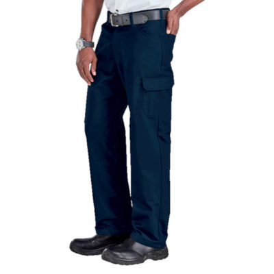 The Brixton Pants, Poly Cotton Twill Fabric, Constructed Waistband With Belt Loops, Back Patch Pockets, Back Yoke, Front Fly With Metal Zip And Shank, Curved Pockets With A Money Pocket, Single Patch Pocket With Flap And Cell Phone Side Pocket, Triple Needle Stitching On Back Rise And In The Leg. Colour: Navy. Model.
