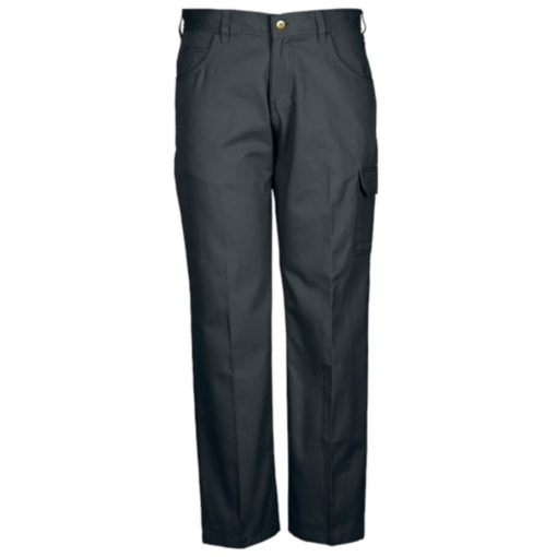 The Brixton Pants, Poly Cotton Twill Fabric, Constructed Waistband With Belt Loops, Back Patch Pockets, Back Yoke, Front Fly With Metal Zip And Shank, Curved Pockets With A Money Pocket, Single Patch Pocket With Flap And Cell Phone Side Pocket, Triple Needle Stitching On Back Rise And In The Leg. Colour: Grey.