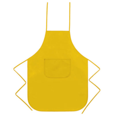 The Non Woven Apron, Made Of Polyester, One Pocket, One Size Fits All, Adjustable Neck & Body Ties, Hospitality Industry Fixture. Colour: Yellow.