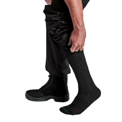 The Security Sock, 60% Cotton, 39% Nylon, 1% Elastane. Bioguard Treated, Relaxed Lycra Welt Inset, Reinforced Heel & Toe. Colour: Black. Model