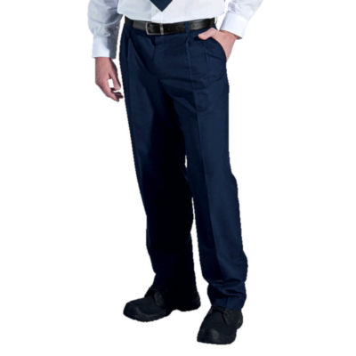 The Winston Pants Have Two Back Jet Pockets, Branded Inner Waistband Trim, Two Front Slanted Pockets, A Classic Pleated Front And Is Made Up Of 190g 65/35 Poly Viscose. Colour: Navy. Model.