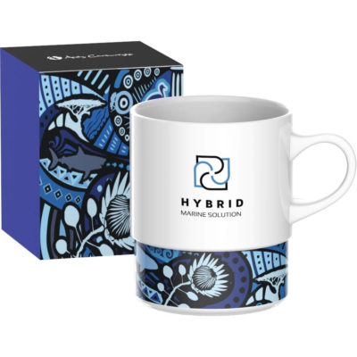The I Am South African Coffee Mug has blue tribal pattern design at the bottom of the mug. Made from white AB graded ceramic with handle. Packed inside a matching tribal themed box.