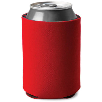Red cylindrical shaped can cooler made from sponge and polyester