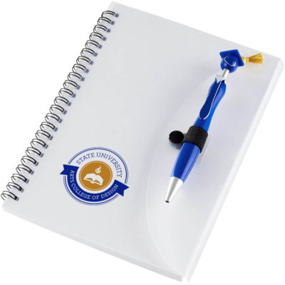 The Swanky Graduation Notebook And Pen with 80 sheets of lined paper and a blue pen.