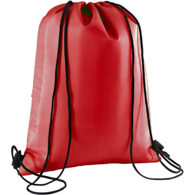 The Drawstring Cooler Bag in the colour red is made from 210D with foil lining and black drawstring laces.