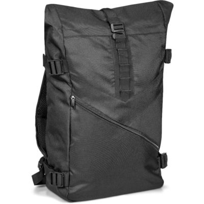 The Trail Backpack in the colour black made from 600D and PVC.