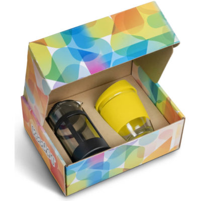Lime Green silicone lid and band around a 340ml coffee travelling mug made from glass. With black plunger also made from glass inside a cardboard box.