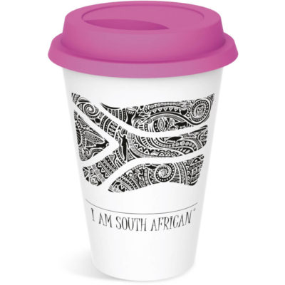 Pink lid on tumbler mug 330ml with South African tribal black and white flag pictured on the cup.
