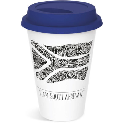 Navy lid on tumbler mug 330ml with South African tribal black and white flag pictured on the cup.