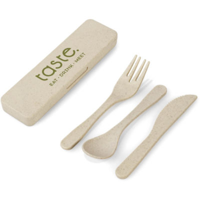 The Devour Cutlery Set made from wheat straw and pp material.