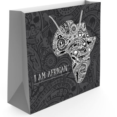 The I Am African Andy Cartwright Gift Bag is about 30cm (w) x 12.5cm (d) x 28cm (h) in size with tribal patterns.