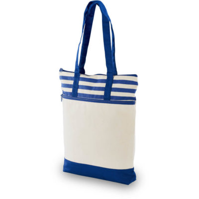 The Earth Tone Tote Bag in the colour blue with a front zip pocket.