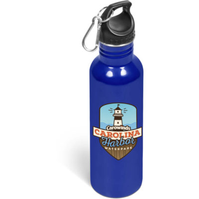 The Ventura Screw Top Lid Drink Bottle in the colour blue and has a capacity of 750ml.