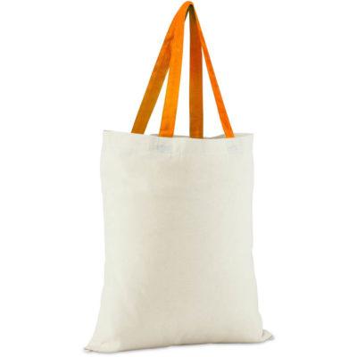 This Colour-Cotton Natural Fiber Bag has orange handles and is Eco friendly.