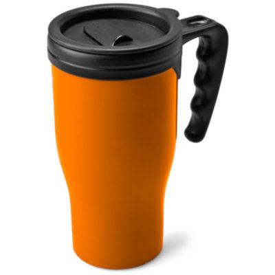 Red tall 450ml flask mug with black handle