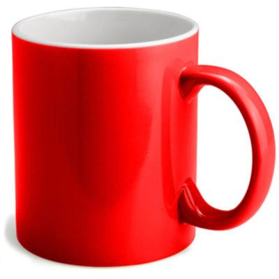 Red bodied mug with white inside. Mug has a standard mug shape and holds 330ml of liquid.