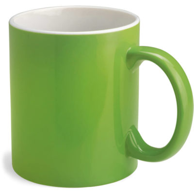Lime Green bodied mug with white inside. Mug has a standard mug shape and holds 330ml of liquid.