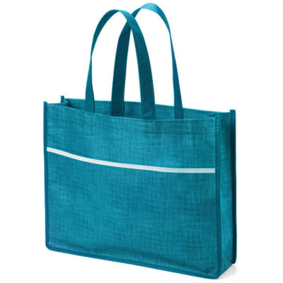 The Evandale Tote bag in the colour turquoise made from Non Woven material.