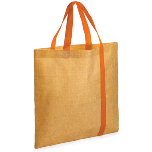 The Bulimba Tote Bag is made from Faux Jute material with a orange stripe running down the bag.