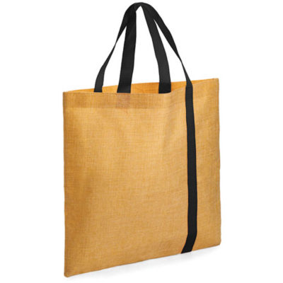 The Bulimba Tote Bag is made from Faux Jute material with a black stripe running down the bag.