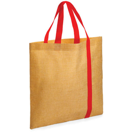 The Bulimba Tote Bag is made from Faux Jute material with a red stripe running down the bag.
