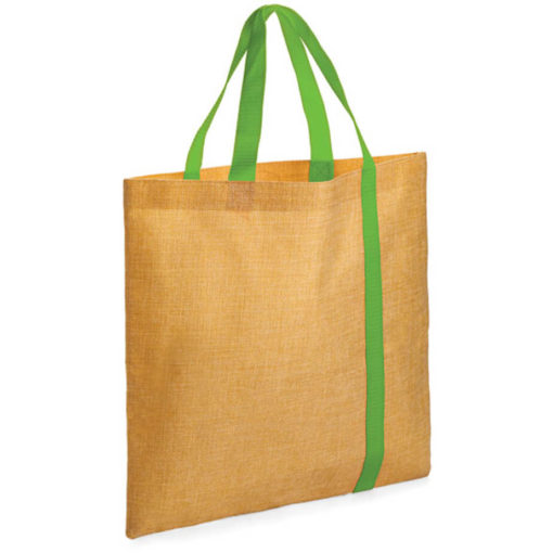 The Bulimba Tote Bag is made from Faux Jute material with a lime green stripe running down the bag.