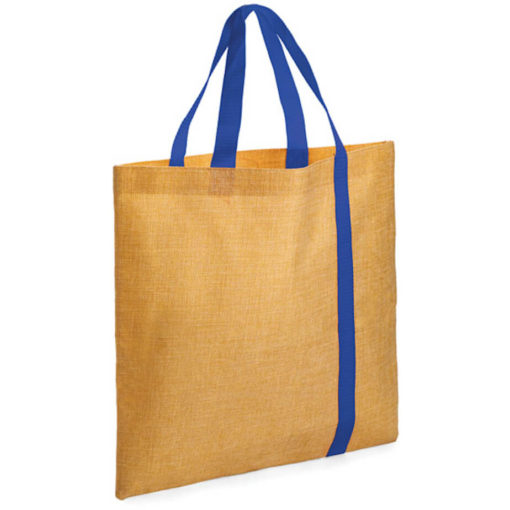 The Bulimba Tote Bag is made from Faux Jute material with a blue stripe running down the bag.