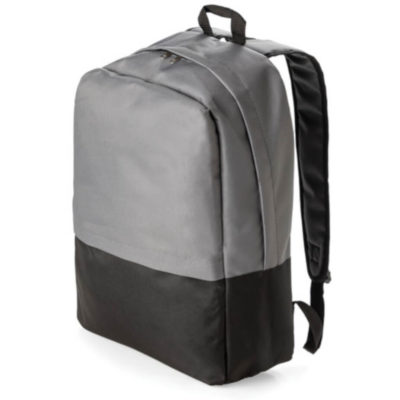 The 2 tone laptop backpack is grey and black in colour and has two compartments, 2 straps and 1 handle to hang up your bag.