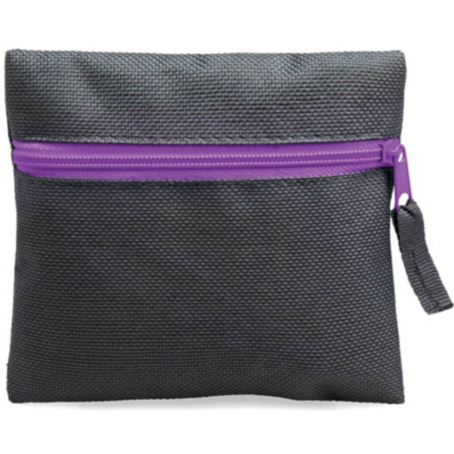 Purple square pouch travelling or organiser bag with colour zip and one compartment