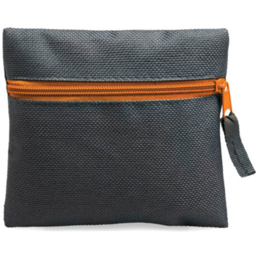 Orange square pouch travelling or organiser bag with colour zip and one compartment