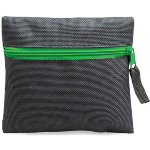Lime Green square pouch travelling or organiser bag with colour zip and one compartment