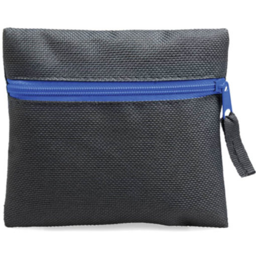 Blue square pouch travelling or organiser bag with colour zip and one compartment