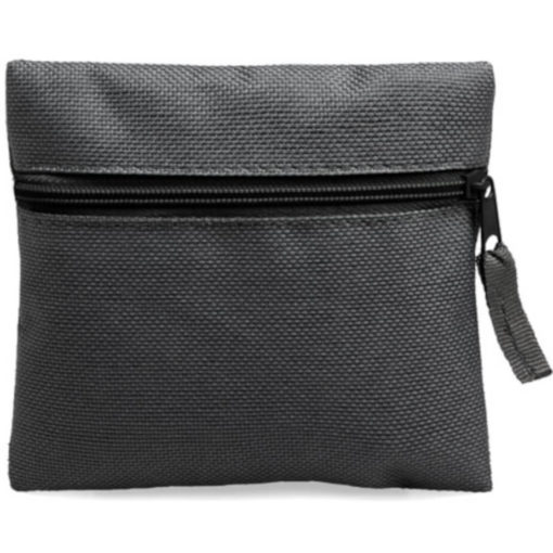 Black square pouch travelling or organiser bag with colour zip and one compartment