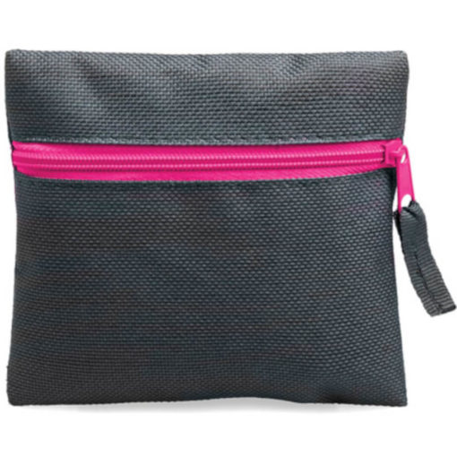 Pink square pouch travelling or organiser bag with colour zip and one compartment