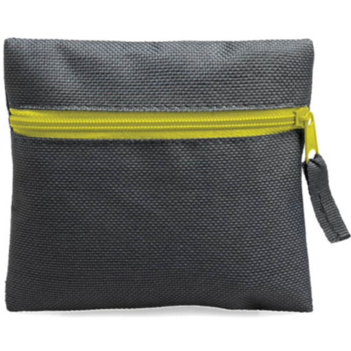 Yellow square pouch travelling or organiser bag with colour zip and one compartment