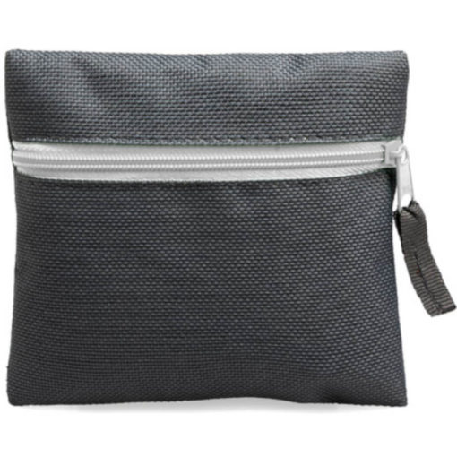 White square pouch travelling or organiser bag with colour zip and one compartment