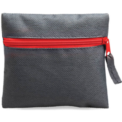 Red square pouch travelling or organiser bag with colour zip and one compartment